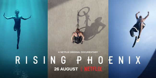 Silhouettes of three Paralympic athletes performing with text Rising Phoenix from Netflix