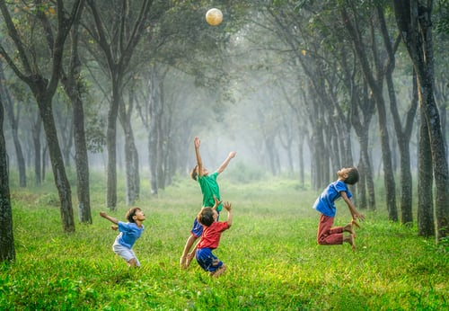 children playing outside together