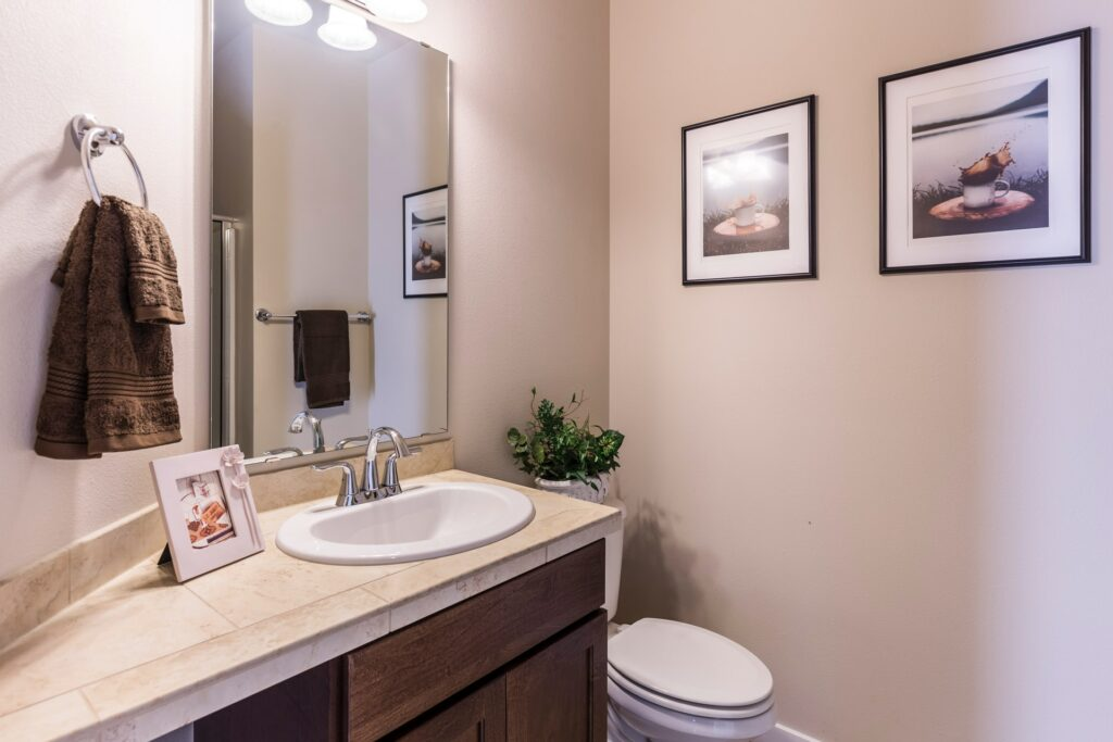 Photo of a bathroom and toilet