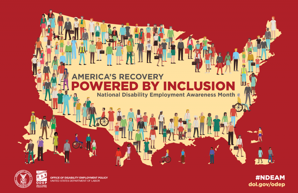 America's Recovery Powered by Inclusion NDEA month poster logo